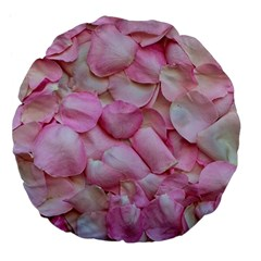 Romantic Pink Rose Petals Floral  Large 18  Premium Flano Round Cushions by yoursparklingshop