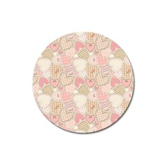 Cute Romantic Hearts Pattern Magnet 3  (round) by yoursparklingshop
