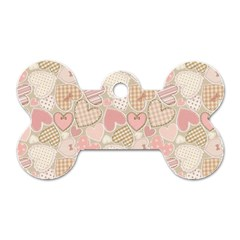 Cute Romantic Hearts Pattern Dog Tag Bone (two Sides) by yoursparklingshop