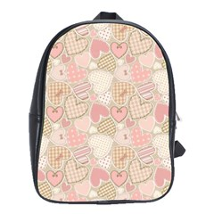 Cute Romantic Hearts Pattern School Bag (large) by yoursparklingshop