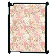 Cute Romantic Hearts Pattern Apple Ipad 2 Case (black) by yoursparklingshop