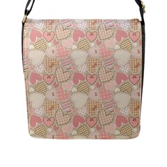 Cute Romantic Hearts Pattern Flap Messenger Bag (l)  by yoursparklingshop