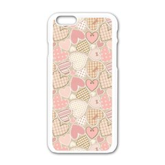 Cute Romantic Hearts Pattern Apple Iphone 6/6s White Enamel Case by yoursparklingshop