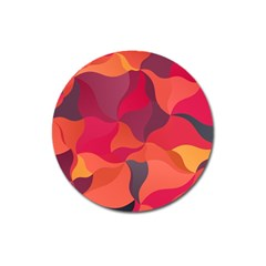 Red Orange Yellow Pink Art Magnet 3  (round) by yoursparklingshop