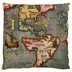 Vintage Map Large Cushion Case (two Sides)