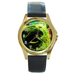 Abandoned Mine 3 Round Gold Metal Watch