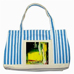 Poppies In An Abandoned Yard 10 Striped Blue Tote Bag by bestdesignintheworld