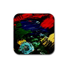 Tumble Weed And Blue Rose Rubber Coaster (square)  by bestdesignintheworld