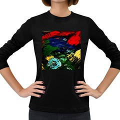Tumble Weed And Blue Rose Women s Long Sleeve Dark T-shirts by bestdesignintheworld