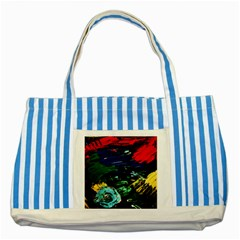 Tumble Weed And Blue Rose Striped Blue Tote Bag by bestdesignintheworld