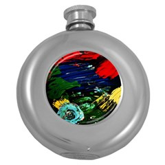 Tumble Weed And Blue Rose Round Hip Flask (5 Oz) by bestdesignintheworld