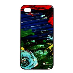 Tumble Weed And Blue Rose Apple Iphone 4/4s Seamless Case (black) by bestdesignintheworld