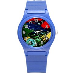 Tumble Weed And Blue Rose Round Plastic Sport Watch (s) by bestdesignintheworld