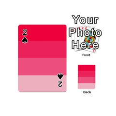 Pink Scarlet Gradient Stripes Pattern Playing Cards 54 (mini)  by yoursparklingshop