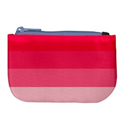 Pink Scarlet Gradient Stripes Pattern Large Coin Purse by yoursparklingshop