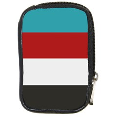 Dark Turquoise Deep Red Gray Elegant Striped Pattern Compact Camera Cases by yoursparklingshop