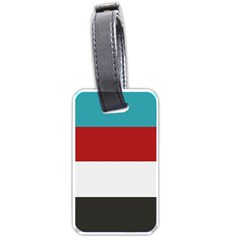 Dark Turquoise Deep Red Gray Elegant Striped Pattern Luggage Tags (one Side)  by yoursparklingshop