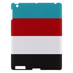 Dark Turquoise Deep Red Gray Elegant Striped Pattern Apple Ipad 3/4 Hardshell Case by yoursparklingshop