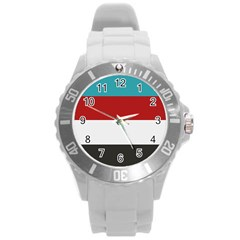 Dark Turquoise Deep Red Gray Elegant Striped Pattern Round Plastic Sport Watch (l) by yoursparklingshop