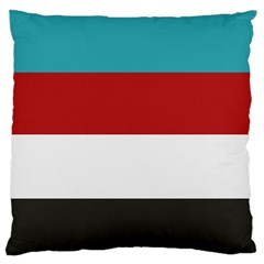 Dark Turquoise Deep Red Gray Elegant Striped Pattern Large Flano Cushion Case (two Sides) by yoursparklingshop