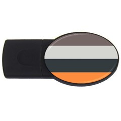 Orange Sand Charcoal Stripes Pattern Striped Elegant Usb Flash Drive Oval (4 Gb) by yoursparklingshop
