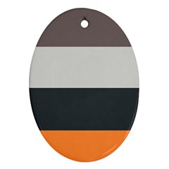 Orange Sand Charcoal Stripes Pattern Striped Elegant Oval Ornament (two Sides) by yoursparklingshop