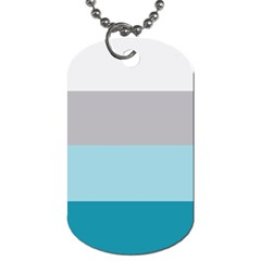 Blue Gray Striped Pattern Horizontal Stripes Dog Tag (one Side) by yoursparklingshop