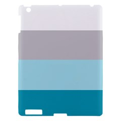 Blue Gray Striped Pattern Horizontal Stripes Apple Ipad 3/4 Hardshell Case by yoursparklingshop