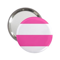 Horizontal Pink White Stripe Pattern Striped 2 25  Handbag Mirrors by yoursparklingshop