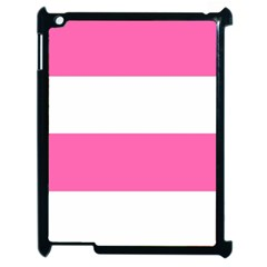 Horizontal Pink White Stripe Pattern Striped Apple Ipad 2 Case (black) by yoursparklingshop