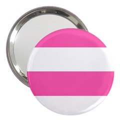 Horizontal Pink White Stripe Pattern Striped 3  Handbag Mirrors by yoursparklingshop