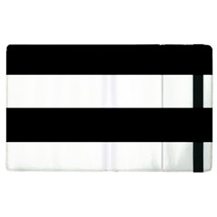 Black And White Striped Pattern Stripes Horizontal Apple Ipad 2 Flip Case by yoursparklingshop