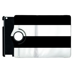 Black And White Striped Pattern Stripes Horizontal Apple Ipad 2 Flip 360 Case by yoursparklingshop