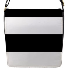 Black And White Striped Pattern Stripes Horizontal Flap Messenger Bag (s) by yoursparklingshop