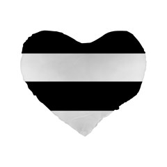 Black And White Striped Pattern Stripes Horizontal Standard 16  Premium Flano Heart Shape Cushions by yoursparklingshop