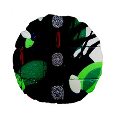 Graffiti On Green And Pink Designs Standard 15  Premium Flano Round Cushions by flipstylezdes