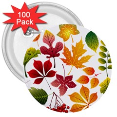 Beautiful Autumn Leaves Vector 3  Buttons (100 Pack)  by Nexatart