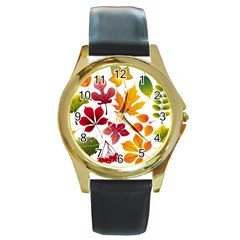 Beautiful Autumn Leaves Vector Round Gold Metal Watch