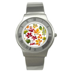 Beautiful Autumn Leaves Vector Stainless Steel Watch by Nexatart
