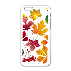Beautiful Autumn Leaves Vector Apple Iphone 6/6s White Enamel Case by Nexatart