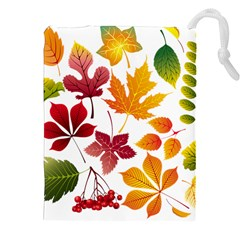 Beautiful Autumn Leaves Vector Drawstring Pouches (xxl) by Nexatart