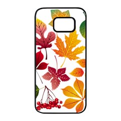 Beautiful Autumn Leaves Vector Samsung Galaxy S7 Edge Black Seamless Case by Nexatart