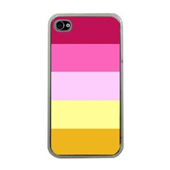 Red Orange Yellow Pink Sunny Color Combo Striped Pattern Stripes Apple Iphone 4 Case (clear) by yoursparklingshop