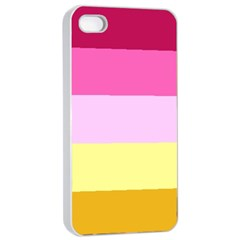 Red Orange Yellow Pink Sunny Color Combo Striped Pattern Stripes Apple Iphone 4/4s Seamless Case (white) by yoursparklingshop