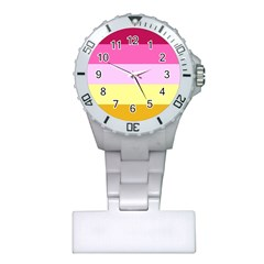 Red Orange Yellow Pink Sunny Color Combo Striped Pattern Stripes Plastic Nurses Watch by yoursparklingshop