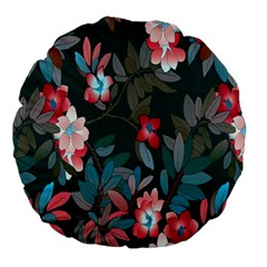 Floral Pattern Large 18  Premium Flano Round Cushions by goodart