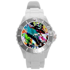 Tulips First Sprouts 6 Round Plastic Sport Watch (l) by bestdesignintheworld