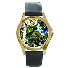 Bow Of Scorpio Before A Butterfly 8 Round Gold Metal Watch by bestdesignintheworld