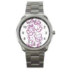 Flower Pink Sport Metal Watch by goodart