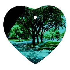 Hot Day In Dallas 5 Ornament (heart) by bestdesignintheworld